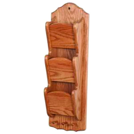 Furniture Barn USA™ Oak Narrow Hanging 3 Tier Letter/Bill Organizer with Key Hooks - Wall Mounted Wall Key Organizer