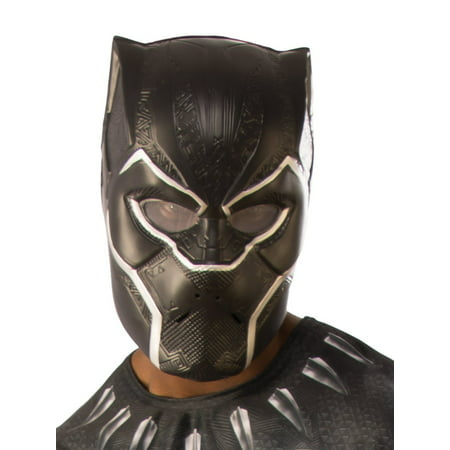 Half And Half Costumes (Marvel Black Panther Movie Black Panther Adult 1/2 Mask Halloween Costume)
