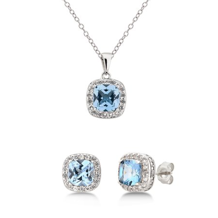 Diamond accent, Created Blue Topaz & White Sapphire Sterling Silver 2 pcs Jewelry Set (Dolphins Set Jewelry Set)