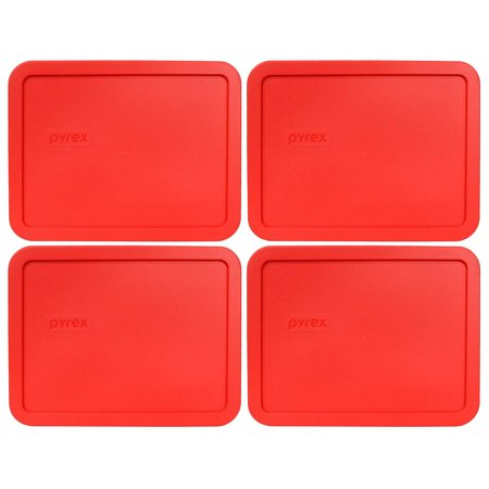 Pyrex Replacement Lid 7211-PC Red Rectangle Cover (4-Pack) for Pyrex 7211 Dish (Sold Separately)