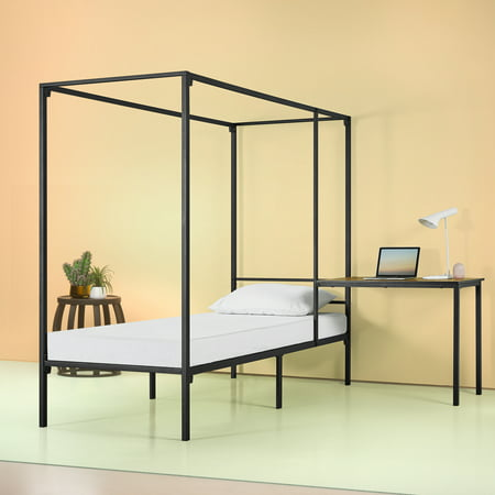 Zinus Kenn Canopy Bed Frame with Desk, Twin Bedroom Modern Canopy Bed