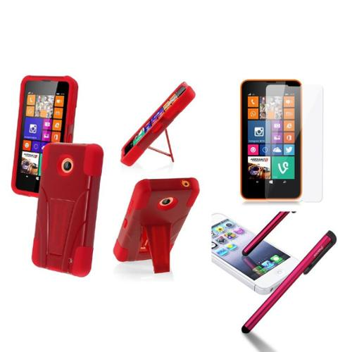 Insten Red+Red Hybrid Stand Hard Soft Case Cover For Nokia Lumia 635+3.5mm Stylus Pen+LCD Screen Protector