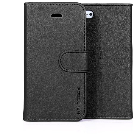 BUDDIBOX iPhone 5C Case Premium PU Durable Leather Wallet Folio Protective Cover Case for Apple iPhone 5C (Coach Iphone 5c Wallet)
