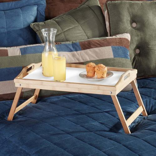 Two, Bamboo Folding Lap, Table, Bed Serving Trays with Carrying Handles | BT2100