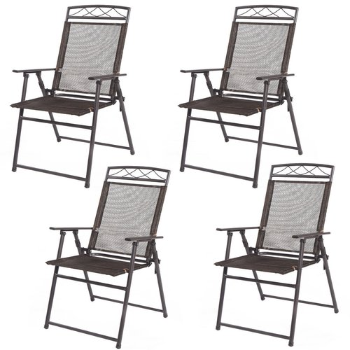 Costway Patio Fabric Folding Chair (Set of 4)