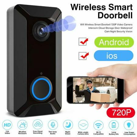 Wifi Wireless Smart Doorbell 720P Video Camera Intercom Cloud Storage Door Waterproof Cam Night Security