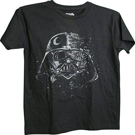 Darth Vader Death Star Morph Adult Black T-Shirt (Medium)