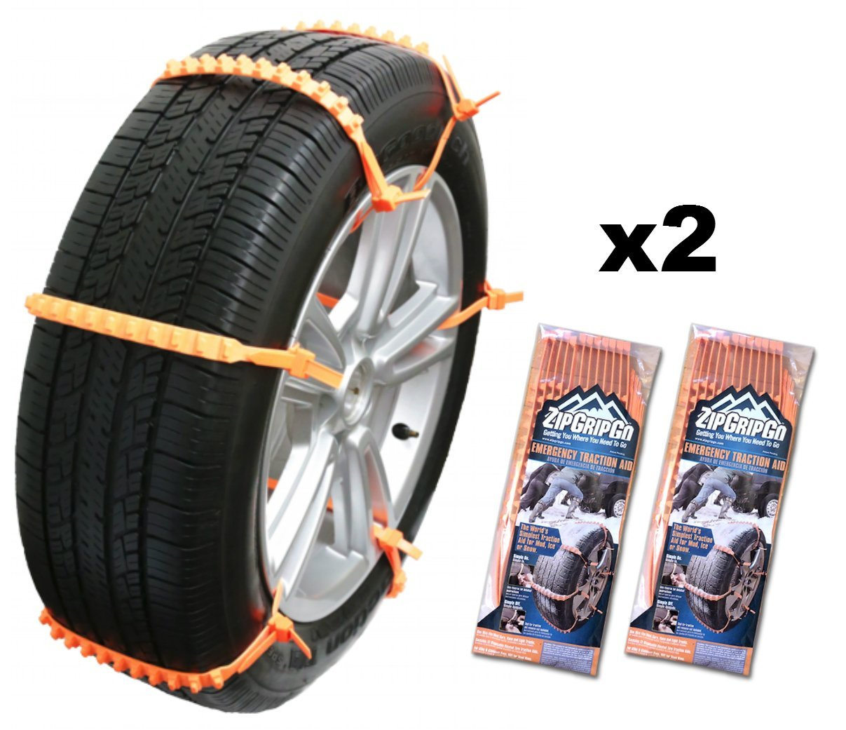 Zip Grip Go Cleated Tire Traction Snow Ice Mud Car SUV Van Truck by