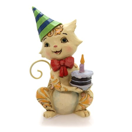 Jim Shore BIRTHDAY CAT MINI Polyresin Heartwood Creek 6001091 - Jim Shore Halloween Cats