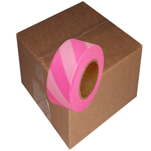 12 Roll Case of Fluorescent Pink and White Safety Striped Flagging Tape 1 3/16 inch x 150 ft Non-Adhesive