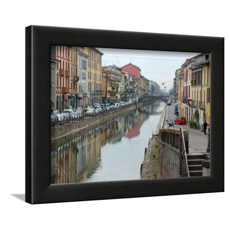 Shops and Restaurants Along Canal, Naviglio Grande, Milan, Italy Framed Print Wall Art By Lisa S. (Canal Framed Print)