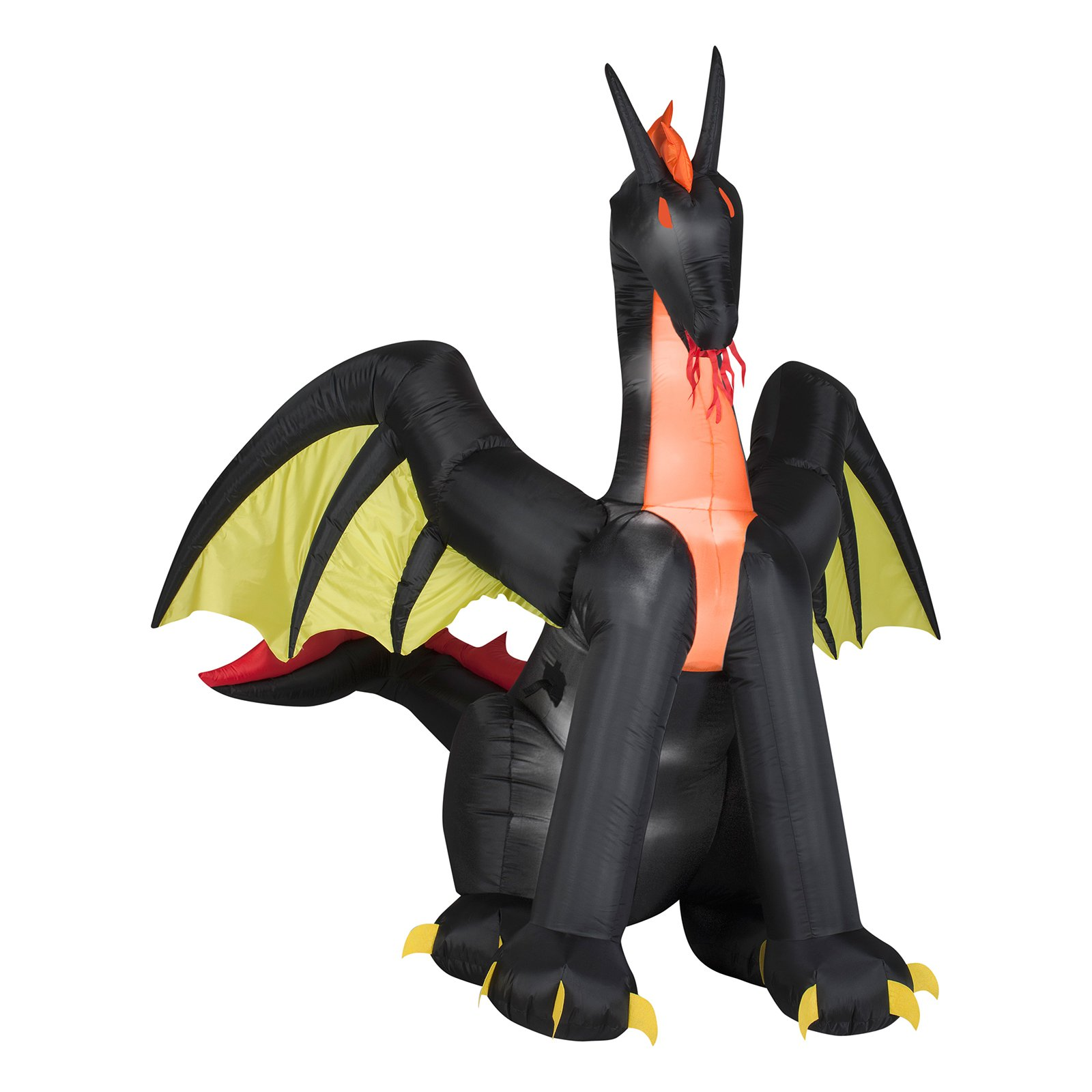 6' Airblown Inflatables Animated Fire Dragon with Wings Halloween Decoration