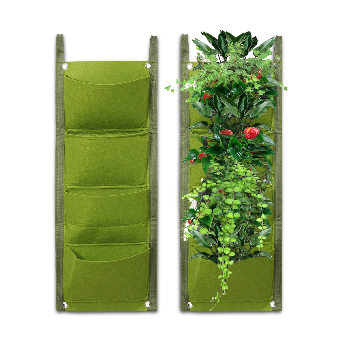 4 Pockets Hanging Vertical Garden Wall Planter  Flower Pouch Basket Indoor/Outdoor Wall Mount Balcony Yard Plant Grow Bags For Herbs Vegetables Flowers Yard Garden Home Decoration