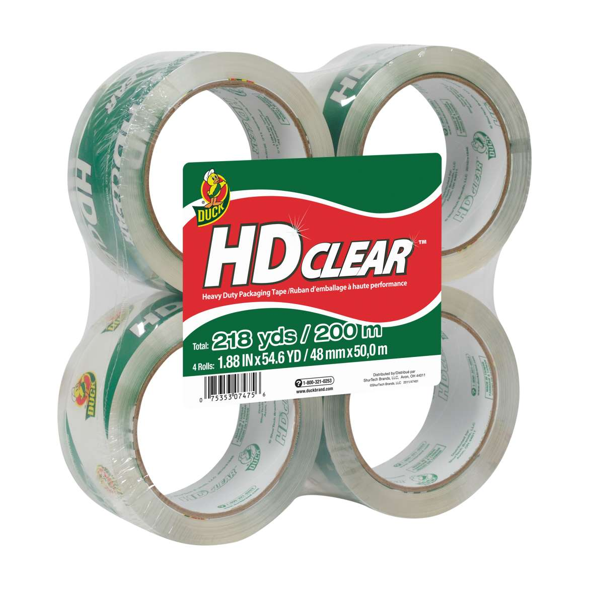 Duck HD Clear Packaging Tape, 1.88 in. x 54.6 yd., Clear, 4-Count