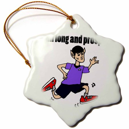 3dRose Funny Running Vulcan Cartoon Run Long and Prosper - Snowflake Ornament,