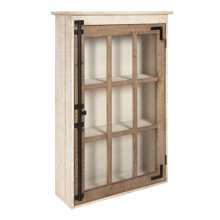 Kate and Laurel Hutchins Farmhouse Wood Wall Storage Cabinet with Window Pane Glass Door, Rustic and White Dual Pane Glass Door