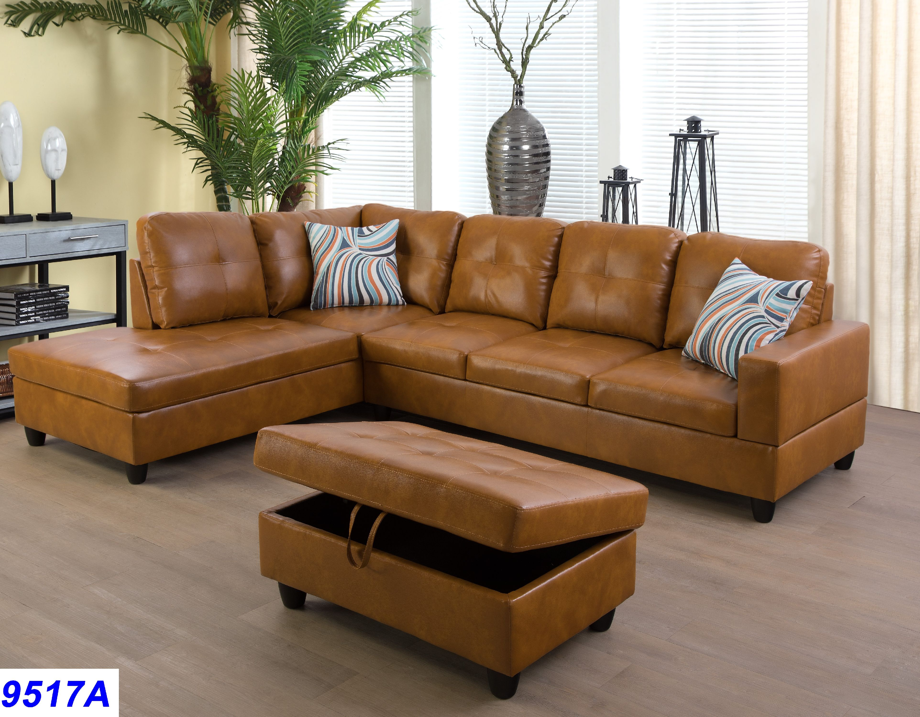 Ginger Faux Leather Sectional Sofa