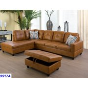 Wellington Ginger Faux Leather Sectional Sofa with Ottoman