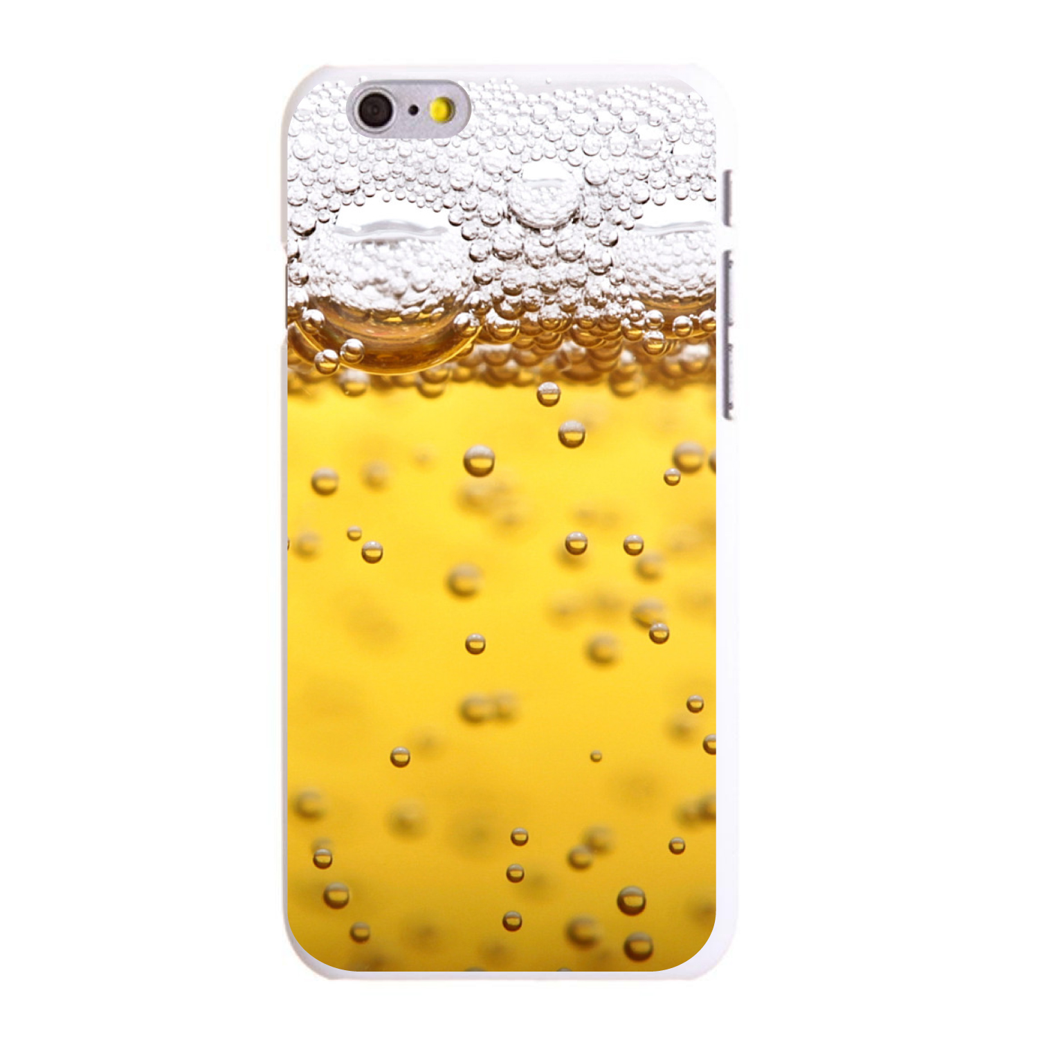 "CUSTOM White Hard Plastic Snap-On Case for Apple iPhone 6 / 6S (4.7"" Screen) - Beer Glass Foam Bubbles"