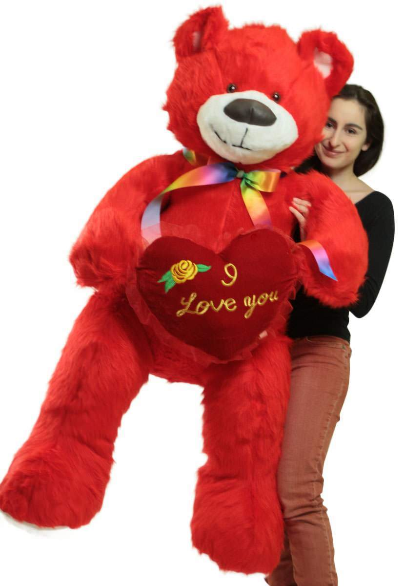 Click here to buy Life Size 5 Foot Red Teddy Bear with I Love You Heart Pillow, Big Plush Soft Stuffed Animal Made in USA by Big Plush.