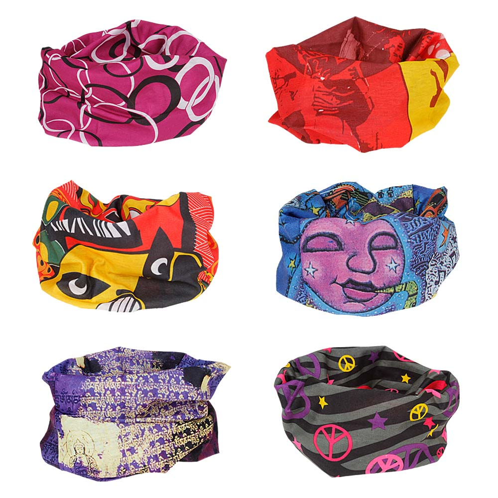 Bundle Monster 6pc Seamless Style Bandana Headwear Scarf Wrap - Mixed Sets