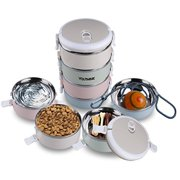 Portable Pet Bento Bowl Set Leak Proof Pet Water Bowl 4 Stainless Steel Pet Bowls Portion Control Dog Cat Travel Bowls Pet Food Treats Ropes Containers with Collapsible Handles for On-the-go Feeding