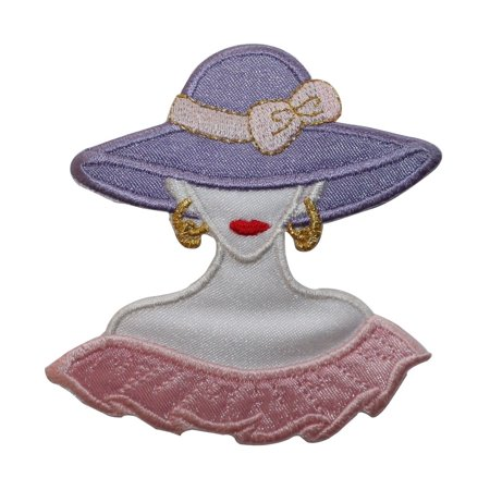 ID 7461 Fancy Woman With Purple Hat Patch Fashion Embroidered Iron On Applique