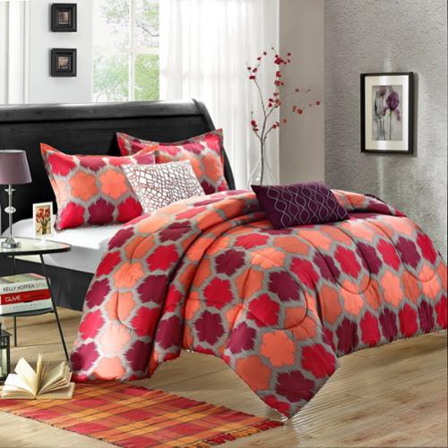 Chic Home Theo 9-Piece Luxury Bed-in-a-Bag Reversible Comforter Set Queen
