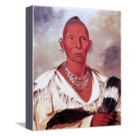 Portrait of Black Hawk, Indian Chief Stretched Canvas Print Wall Art By George Catlin