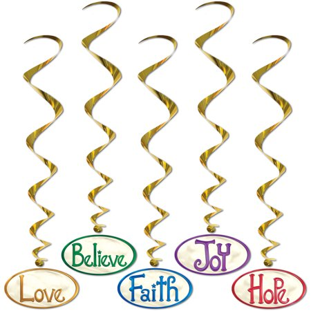 Set Of 5 Christmas Word Whirls Scene Setter Decals Decorations 3' 4