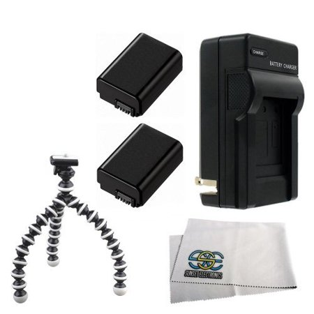 2 Pack Extended Life Replacement Battery Pack For Sony NP-FW50 1500MAH! For The Sony Alpha NEX-3, NEX-5, NEX 3N, NEX 5N, NEX-C3, NEX-C3K, NEX 7 SLT-A33 SLT-A55 Digital Cameras + Gripster Tripod Kit + (Sony Alpha Nex 3n)