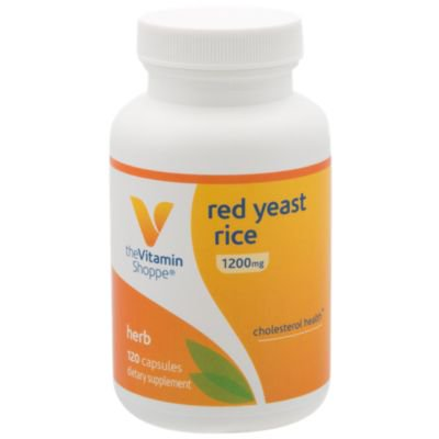 Red Yeast Rice 1200mg, Supports Cholesterol  Cardiovascular Health  Supports a Healthy Heart, Gluten Free, Dairy Free (120 Capsules) by The Vitamin Shoppe