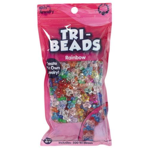Kids Craft Tri-Beads Translucent, Rainbow