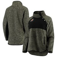 Los Angeles Lakers Women's Sidenote Quilted Snap-Up Pullover Jacket - Black