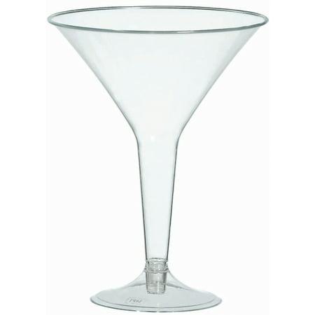 Plastic Martini Glasses, 8 oz, 20/Pkg - Orange Martini Glasses
