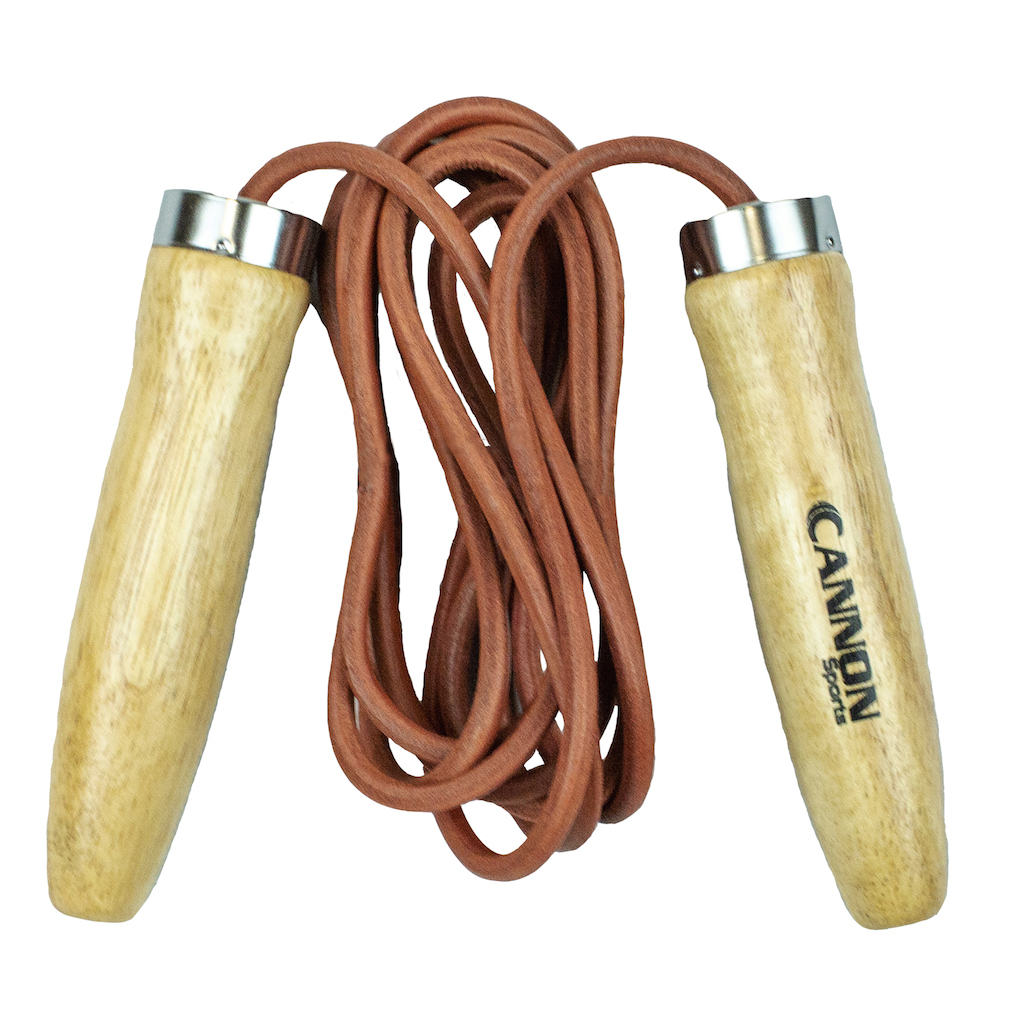 Jump Rope with Contoured Wood Handles NEW Leather Cord Jump Rope-9/'