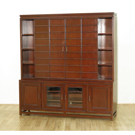 6.5Ft Solid Mahogany TV Media Entertainment Cabinet w/ Folding Doors