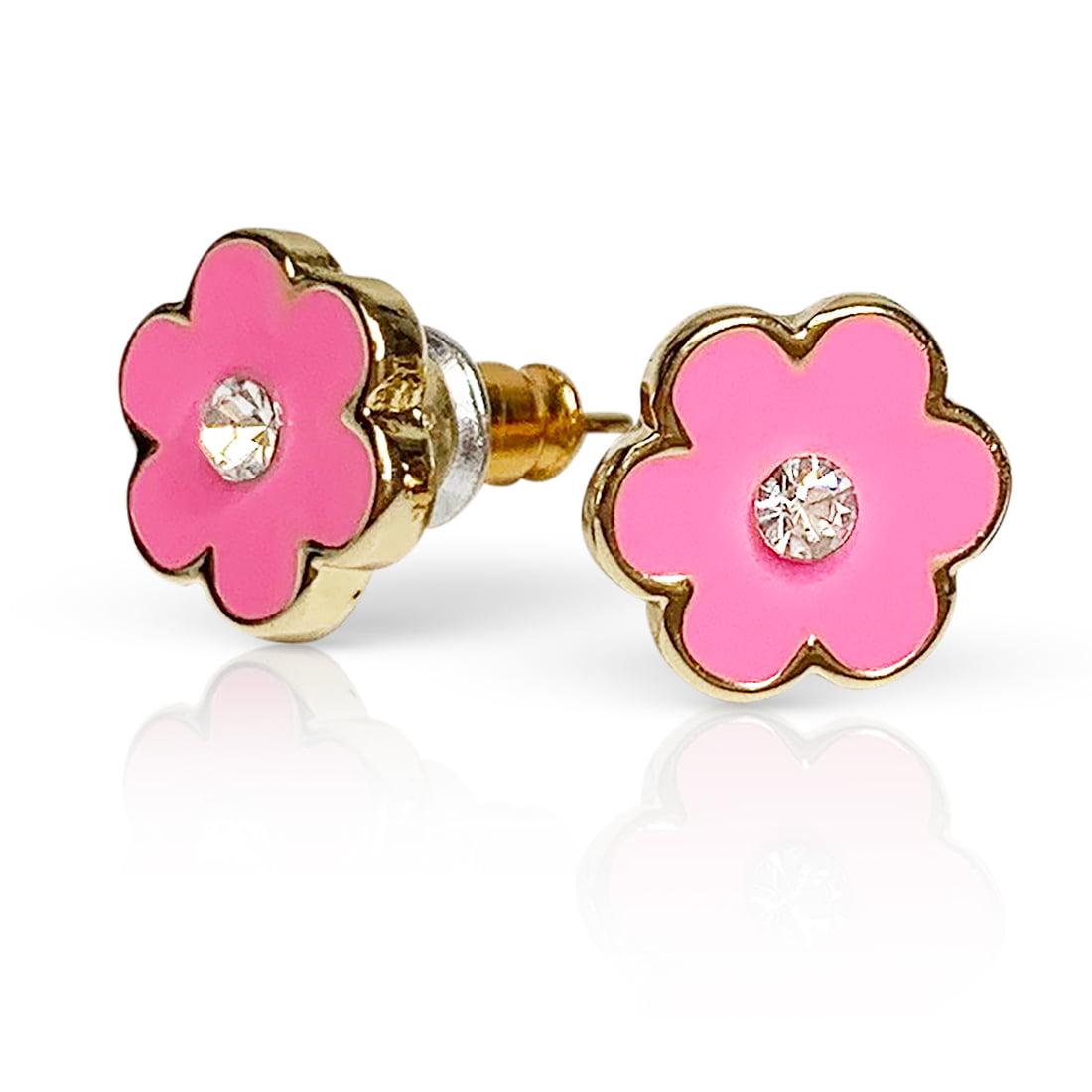 A Touch of Dazzle - Pink Flower Girls' Stud Earrings - Kids Jewelry Flower  Earrings - Toddler Jewelry For Girls Little Girls Jewelry - Flower Stud  Earrings Cute Earrings Girls Earrings -