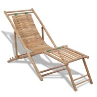 vidaXL Outdoor Deck Chair with Footrest Bamboo