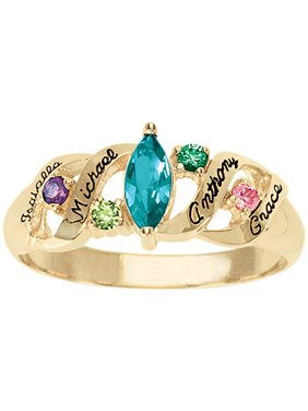 Personalized Family Jewelry Ava Birthstone Mother's Ring available in Sterling Silver, Gold and White Gold