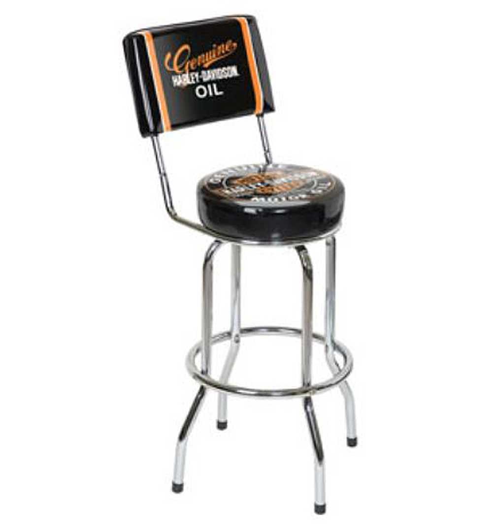 Harley-Davidson Genuine Oil Can Bar Stool w/ Backrest HDL...