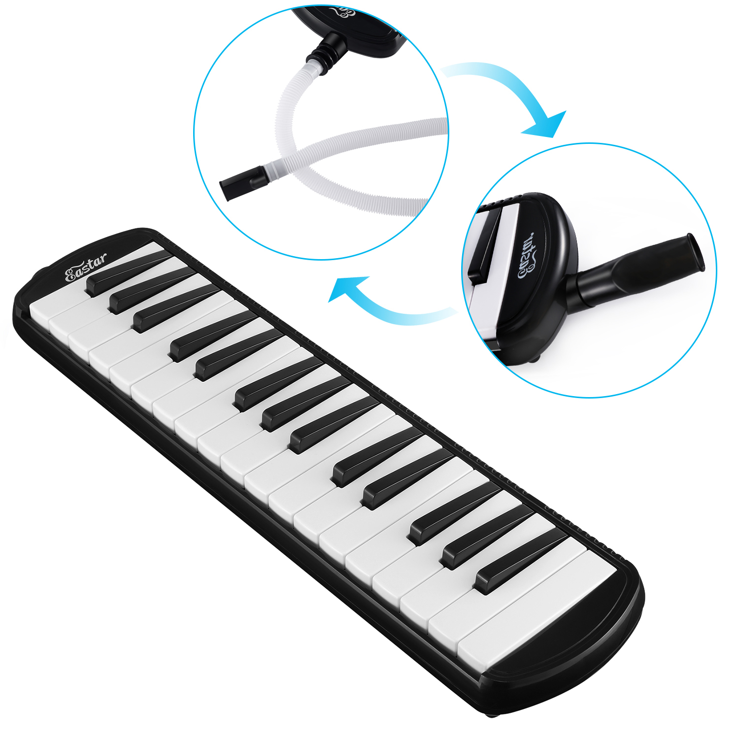 Eastar 32 Key Melodica Instrument Keyboard Soprano With Mouthpiece Carrying ...