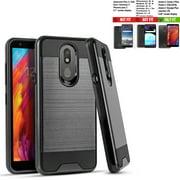 Phone Case For Tracfone LG Journey LTE Case / Walmart Family Mobile LG Journey case / Straight Talk Journey Case (L322DL) Shock absorbing Brush Cover (Slim Black)