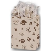 Deluxe Small Business Sales 15-080410-PAWS 8. 25 x 4. 75 x 10. 5 inch Paws Oatmeal Cub Shoppers, Brown on Oatmeal