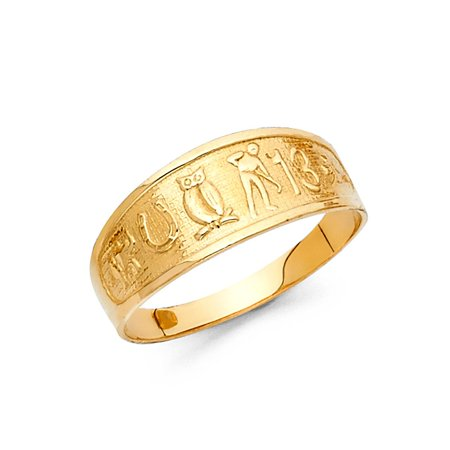 Female Symbol Italian (Lucky Charms All-in-One Good Luck Symbols 7mm Band 14k Yellow Italian Solid Gold Ring Size 8 Available All Sizes )