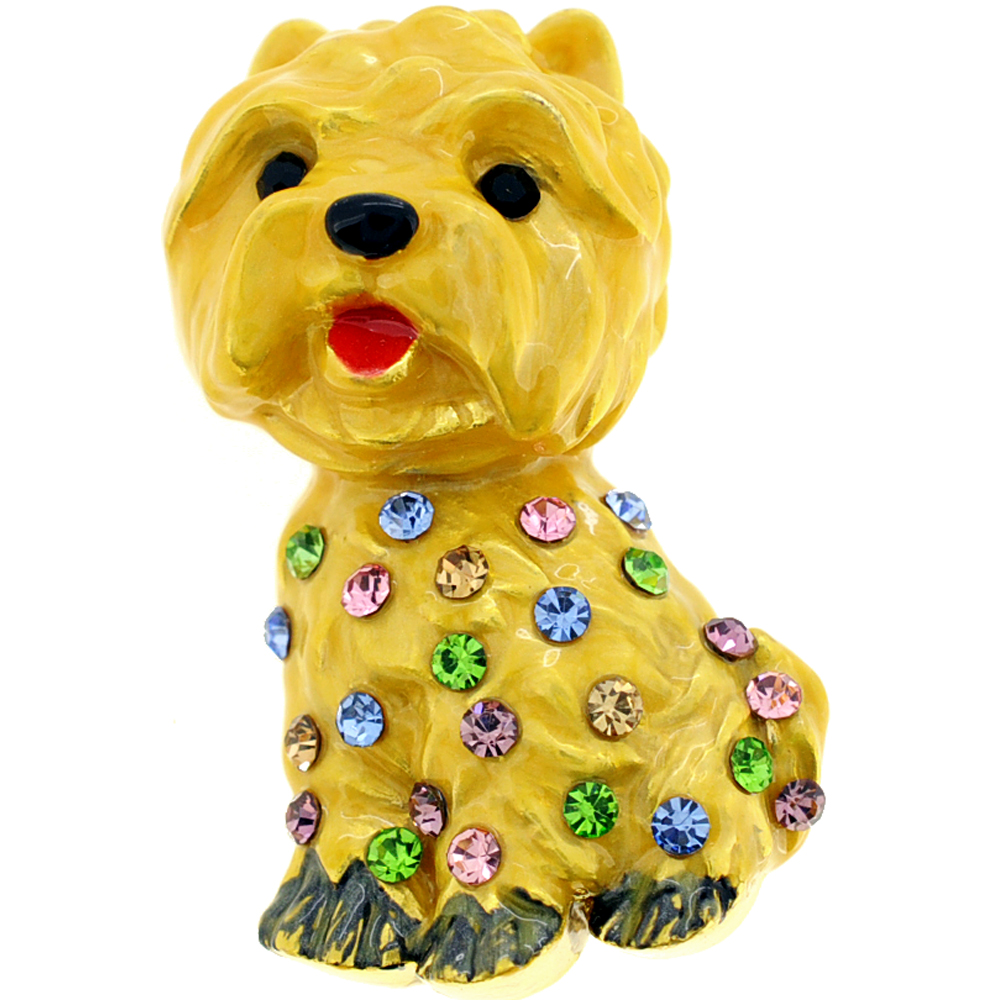 Multicolor Golden Dog Crystal Pin Brooch by