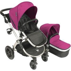 BABYROUES AVANT STROLLER PINK CANVAS ON A SILVER FRAME