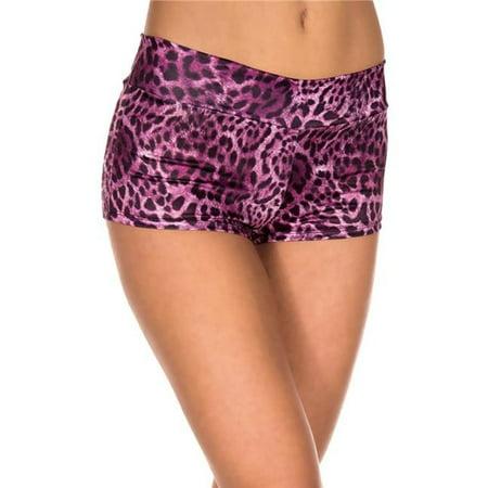 Music Legs 143-FUCHSIA Leopard Print Booty Shorts - Fuchsia
