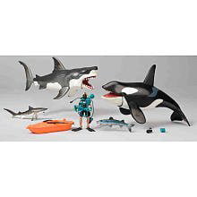 Great White Shark & Killer Whale Playset Animal Planet, 3DS Scalloped Nintendo Shark Prehistoric Hammerhead... by