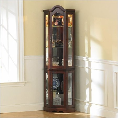 Bowery Hill Mahogany Lighted Corner Curio Cabinet (Corner Curio Cabinets Glass)